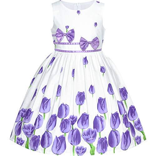 Girls Dress Purple Tulip Festival Dress Casual Floral Size 7-8