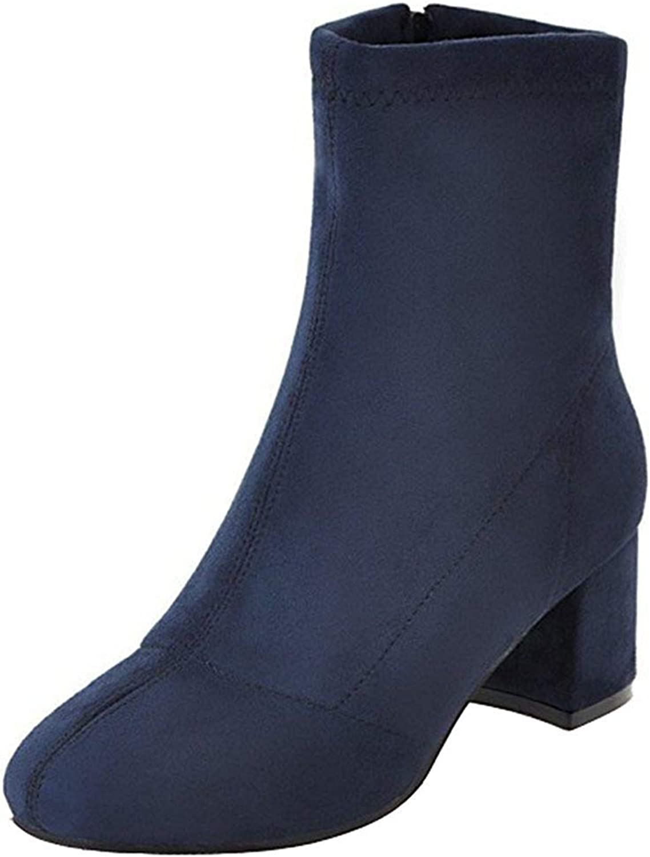 Ghssheh Women's Fashion Block Medium Heel Ankle Booties Round Toe Faux Suede Side Zipper Short Boots Navy bluee 5.5 M US