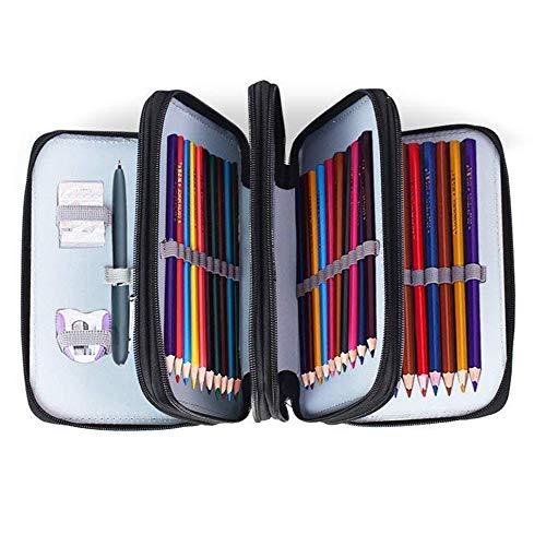 INHEMI Astuccio a 72 fessure, organizer per matite a 4 strati con manico, nero progettato per artisti