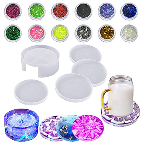 Coaster Molds for Resin Casting Silicone Epoxy Kit Storage Box Mold for Cups Mats Home Decoration RVV