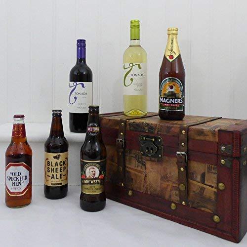 Wein, Bier & Apfelwein Vintage Chest Hamper - Ideen für Valentinstag, Muttertag, Geburtstag, Jubiläum, Glückwünsche, Geschäfts- und Firmengeschenke