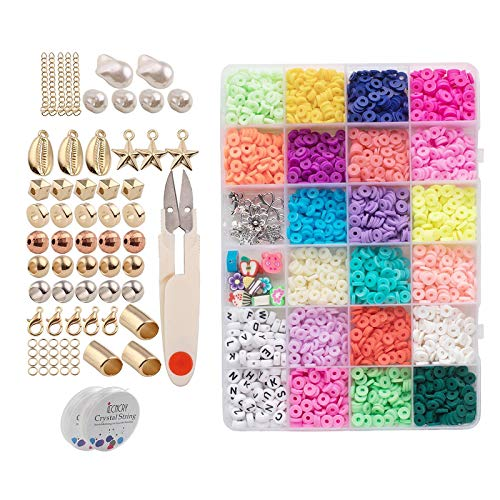 gazechimp 3200 Unidades de 6 Mm Pequenas Planas Redondas de Polímero de Argila Espaçador Kit de Contas Colar Pulseira Faça Você Mesmo