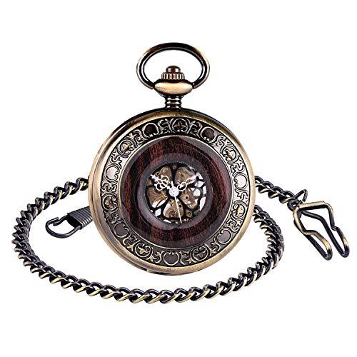 Unendlich U Herren Unisex Mechanische Taschenuhr Mit Kette Holz Aushöhlen Zurück Skeleton Dial Römische Ziffern Vintage Style Halskette Kettenuhr