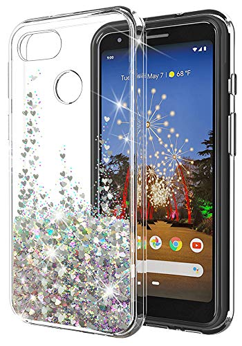 Google Pixel 3a Case SunStory Luxury Fashion Design with Moving Shiny Quicksand Glitter and Double Protection with PC Layer and TPU Bumper Case for Google Pixel 3a (Silver)