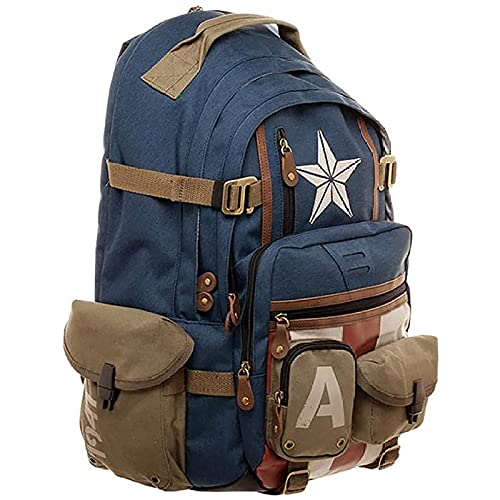 WXHJM Captain America School Bag per Scuola e Tempo Libero,Perfetto per Scuola e Tempo Libero Borsa per Computer Spiderman,Marvel Avengers Captain America Zaino Sorpresa Zaino