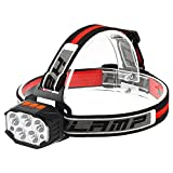 Jabroyee Linterna frontal recargable con 7 modos LED de trabajo, impermeable, linterna Flashilght, recargada por USB/enchufe, lámpara LED más brillante para camping, correr, senderismo, pesca