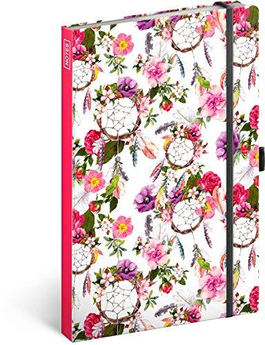 Notizbuch mit Gummiband liniert - Notizblock für Frauen und Mädchen Teenager - Tagebuch Journal Notebook für Schule und Arbeit (Traumfänger Pink)