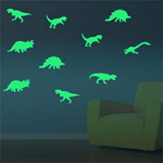 ufengke Glow in The Dark Dinosaurs Wall Stickers Luminous Removable Vinyl Skirting Board Wall Decals for Children's Room Bedroom, 9 Pieces