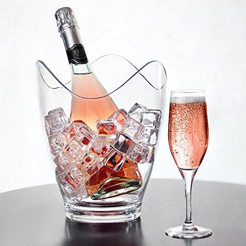 Glacier acrílico Curve vino cubo–plástico inastillable enfriador de champán