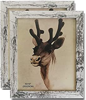 KH 8×10 Picture Frames,Distressed Retro Photo Frames for Tabletop Display Freestanding and Wall Hanging Decoration, White ...