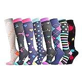 PAOLIAN_Vestido Para Mujer 8 Pares de Calcetines Deportivos de compresión Unisex Running Stretch Pantorrilla Calcetines de compresión de Ciclismo