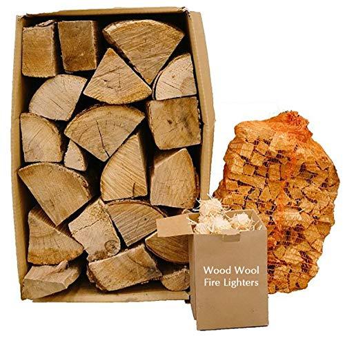 Kiln Dried 20kg Hardwood Logs, 3kg Kindling Wood Sticks + 50 Eco Firelighters Bundle. Firewood Pizza Ovens, Chiminea, BBQ Wood Burner Hardwood Under 20% Moisture. Ready to Burn Fire Logs