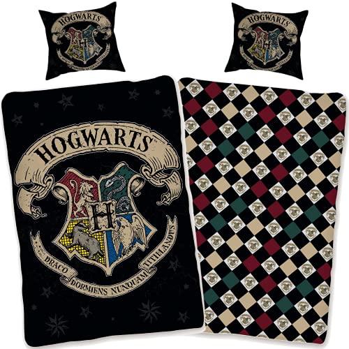 SkyBrands Harry Potter Bettwäsche 135x200 cm Kissenbezug 80x80 [Wendemotiv] Hogwarts Bettwäsche-Set 100% Baumwolle [Mit Reißverschluss] Öko-Tex-Standard 100 Deutsche Größe