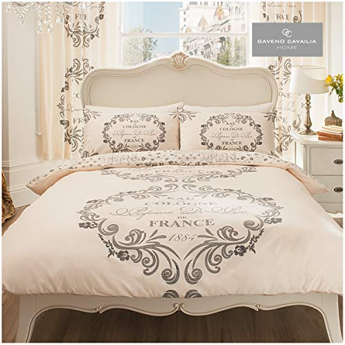 Gaveno Cavailia Luxurious SCRIPT PARIS Bed Set With Duvet Cover and Pillow Case, Polyester-Cotton, Cream , King