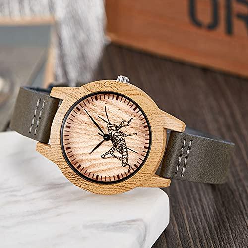 BOZNYReloj de Madera Reloj de imitación de Madera para Hombres y Mujeres, Reloj de Madera de imitación de Cuarzo, Reloj para Hombres, Correa de Cuero Suave, Reloj para Hombres, Mantis para Mujeres