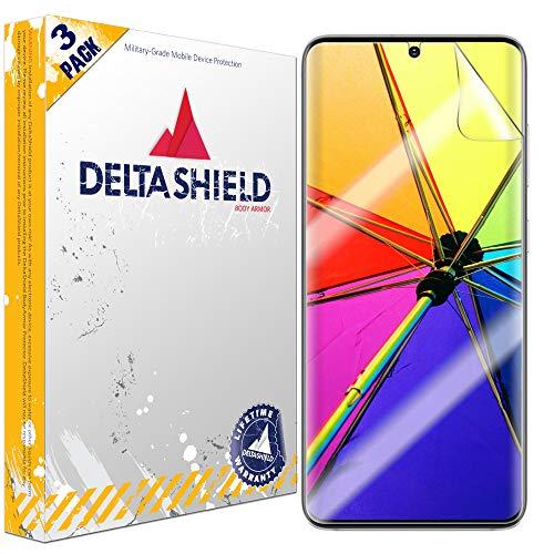 DeltaShield Screen Protector for Samsung Galaxy S20 Plus (S20+ 6.7 inch)(3-Pack)(Case Friendly Version) BodyArmor Anti-Bubble Military-Grade Clear TPU Film