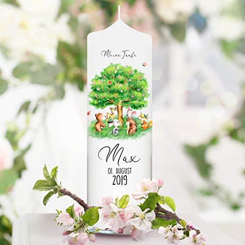 Taufkerze Junge Mädchen Baum mit Waldtieren - Kerze zur Taufe, Geburt oder Kommunion – weiß 25 x 7 cm mit Name, Datum, ggf. Taufspruch / / Taufkerze 25 x 7 cm (ohne Taufspruch)