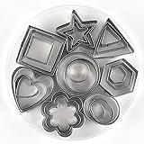LONGWDS Biscuit Nearch 24 unids/Set moldes para Hornear moldes de Acero Inoxidable cortadores de Galletas del émbolo de Galletas de Bricolaje de Bricolaje Estrella Cortador de corazón para Hornear p