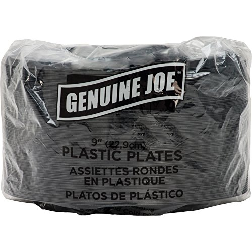 "Genuine Joe GJO10429 Plastic Round Plate, 9"" Diameter, Black (Pack of 125)"