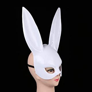 LFOZ Lady Half Face Mask Halloween Masquerade Couples Cosplay Night Club Party Accessory (Color : White, Size : B)