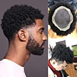 Rossy&Nancy African American Wigs Mono Lace with PU Base Mens Hairpiece 120% Medium Density Afro Tight Curly Human Hair Toupee #1 Jet Black 9x7inch