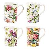 Grace Teaware Bone China Coffee Tea Mugs 9-Ounce, Assorted Set of 4 (Countryside Garden)