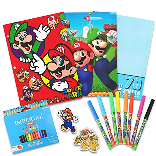 Nintendo Super Mario School Supplies Value Pack Bundle - Folders, Markers, Pencils, Erasers, and More (Super Mario School Supplies)