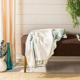 Safavieh Nicola Metallic Throw Blanket, White/Blue/Silver