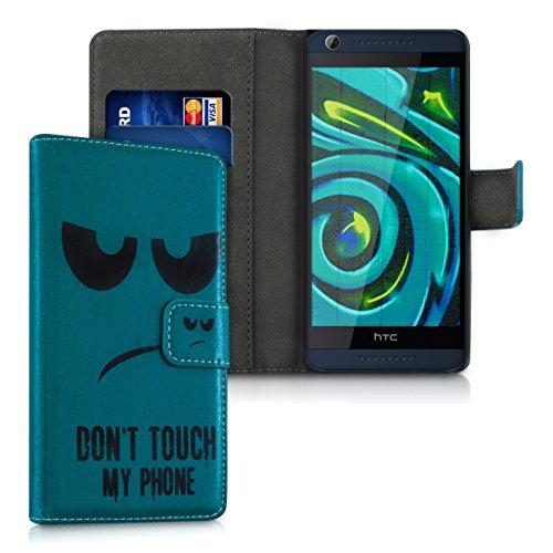 kwmobile HTC Desire 626G Hülle - Kunstleder Wallet Case für HTC Desire 626G mit Kartenfächern & Stand - Don't Touch My Phone Design Schwarz Blau