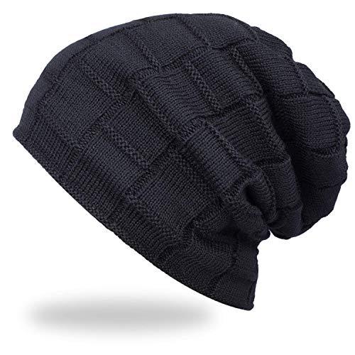 Acexy Wintermütze Warme Knit Mütze Gehäkelte Slouchy Wollmütze Slouchy Caps Unisex Beanie Wintermütze (Schwarz)