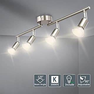 DLLT Modern LED 4 Light Track Lighting Kit, Flush Mount Wall or Ceiling Spot Lights Fixtures, Flexibly Adjustable Decorative Accent Lamp for Kitchen, Living Room, Bedroom, Hallway GU10 Bulbs Included