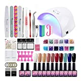 36W Lampe UV/LED Kit Vernis Gel Semi Permanent Soak Off Gel Polish Gel Vernis à Ongle Top Coat Base Coat Huile Cuticule Dissolvant Remover Pads Nail Art Ongle 10 Pots 8ml Manucure Saint-Acior