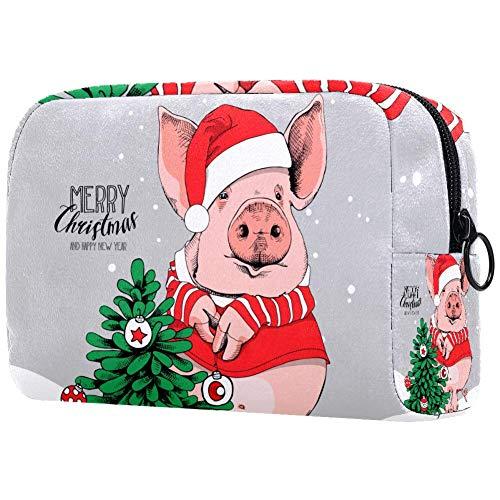 Bennigiry Abete di Natale costume rosso di Babbo Natale Borsa per trucco grande Borsa da toilette Borsa per cosmetici da viaggio Custodia per trucco portatile per donne Ragazze