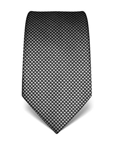 Vincenzo Boretti Herren Krawatte reine Seide Hahnentritt Muster edel Männer-Design zum Hemd mit Anzug für Business Hochzeit 8 cm schmal/breit weiß/anthrazit