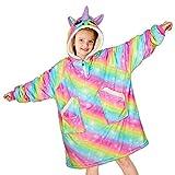 Unicorn Castle Blanket Sweatshirt Unicorn Hoodie Blanket with Pocket Oversized Wearable Blanket for Girls Kids