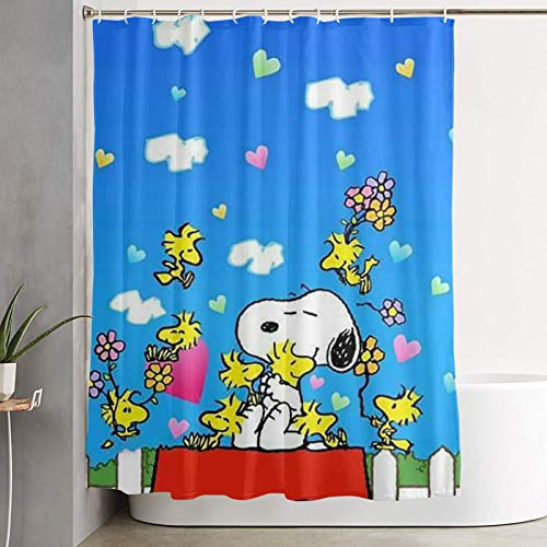 WSXEDC Shower Curtain Snoopy Heart Waterproof Curtain 60 X 72 Inches