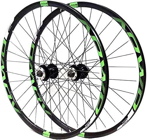 qwert Ruedas De Ciclismo MTB Set De Ruedas De Bicicleta 26 27.5 29 Pulgadas Ruedas De Bicicleta Cassette 8 9 10 Velocidad De Giro Ciclismo Llantas De Doble,Verde,27.5in