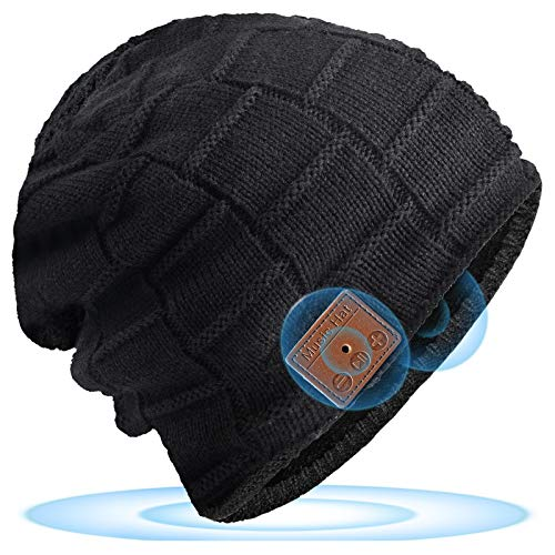 Bluetooth Beanie, Mens Gifts, Electronic Gifts for Men, Fashion Gifts for Women, Bluetooth Hats for Men and Women, Music Hat with Bluetooth Headphones (Waffles)
