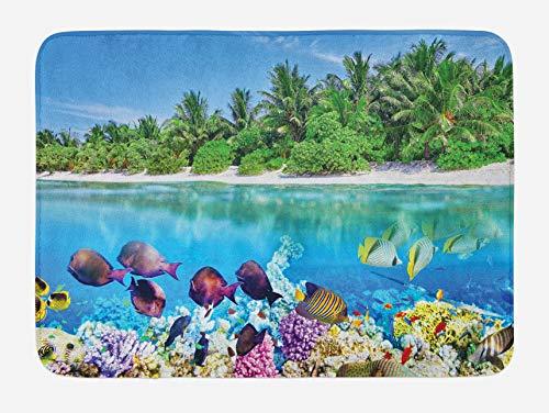 Tappetino da bagno Island, Sandy Seacoast The Underwater Aquatic World in Maldives Travel Diving Paradise Photo, Tappetino da bagno in peluche con supporto antiscivolo, Multicolor