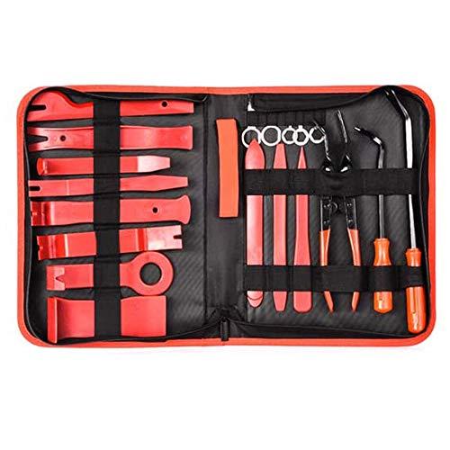 Haihui Herramienta de desmontaje de coche, 19 piezas, cuñas de molduras, herramientas de revestimiento interior, de nailon resistente, accesorios de fijación, clips de reparación