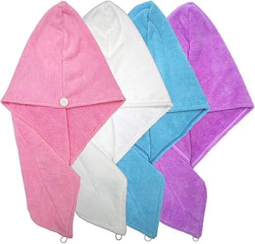 HSKB Haarhoed, voor snel droog en lang haar, microvezel, ultrazachte handdoeken, douchehanddoeken met knoop, haardroogdoek, vermindert haardroogtijd, 4 stuks