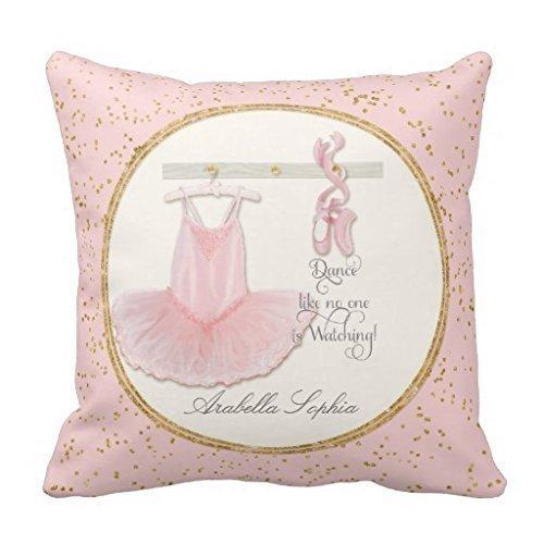 Decams Copricuscino con stampa di tutù, personalizzabile, per bambine/ragazze amanti della danza, 45,7x 45,7cm