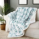 VERTKREA Sherpa Fleece Blanket, Light Blue and White Sherpa Bed Blanket, Reversible Jacquard Plush Throw Blanket, Soft Cozy Lightweight Coral Fleece Blanket for Couch, Sofa, Bed, Chair, 51 x 63 Inches