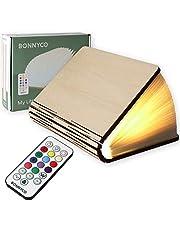 Bonnyco Boekenlamp van hout met afstandsbediening, 12 kleuren en timer, ideaal als bedlampje voor huis en kamer, origineel cadeau voor verjaardag, Kerstmis, vriendin onzichtbaar