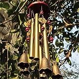 Zdmathe Windspiel Wind Chimes Klangspiel Hanging Kupfer Metall aus Holz Glocken Chinesische Traditionelle Garten Hängend Dekoration