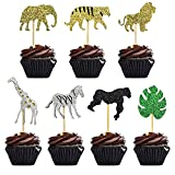 28 Pcs Double Layer Glitter Cooper Life Jungle Safari Animal Cupcake Toppers Zoo Cake Topper Picks Decoration for Baby Showers Kids Birthday Parties