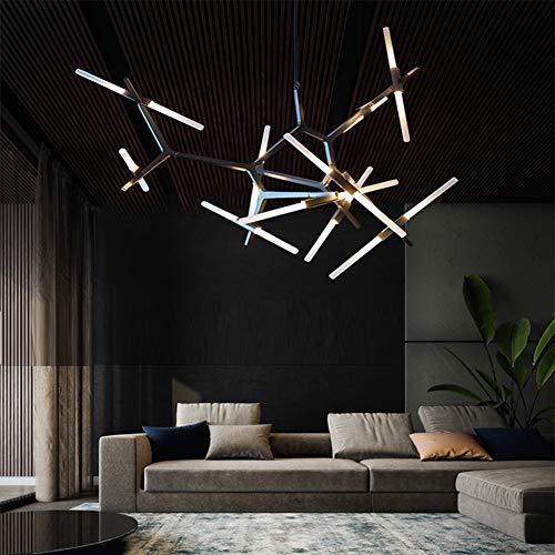 Modern Industrial Chandelier Metal Glass LED Branch Chandeliers Pendant Lamp Light DIY Ceiling Fixtures for Living Room Dining Room Lamps (10-Light Black)