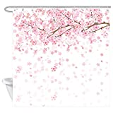 JAWO Floral Shower Curtain, Spring Cherry Blossom with Falling Petals, Polyester Fabric Bath Curtains Set with Hooks 69W X 70L Inches