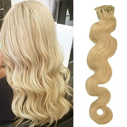 Koobetti Clip in Haarverlängerungen, Body Wave Haarverlängerung, Remy Echthaar, 70g, 7 Stück, No.613 Hellblond, 50cm