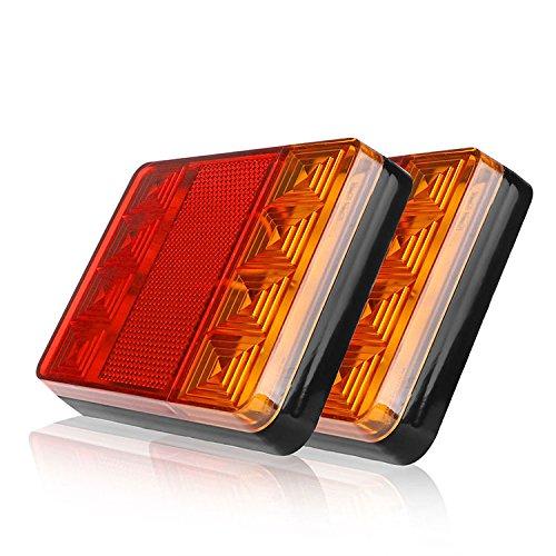 Lot de 2 feux arrière 8 LEDS pour voiture / camion - Feux de détresse arrière étanches - Feux pour partie arrière de remorque de camion / bateau - CC 12V